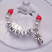 Flower With Stem Personalised Wine Glass Charm - Elegance Style